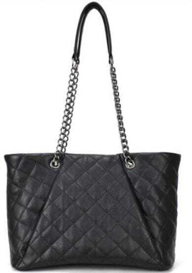 Black Plaid Chain Magnetic PU Leather Shoulder Bag