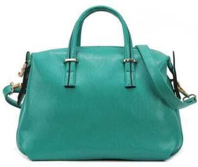 Blue Zipper PU Leather Shoulder Bag