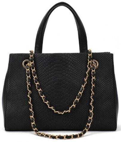 Black Crocodile Chain PU Leather Shoulder Bag