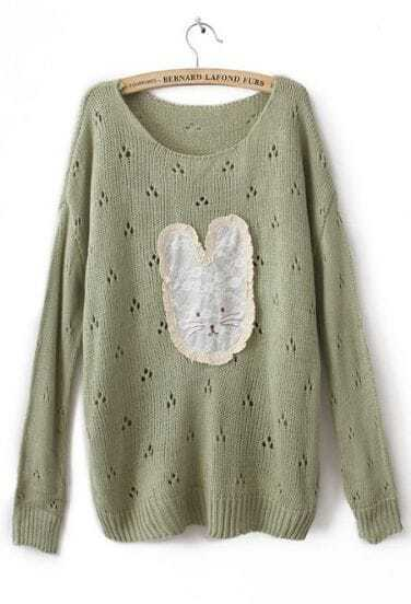 Green Long Sleeve Lace Rabbit Pullovers Sweater