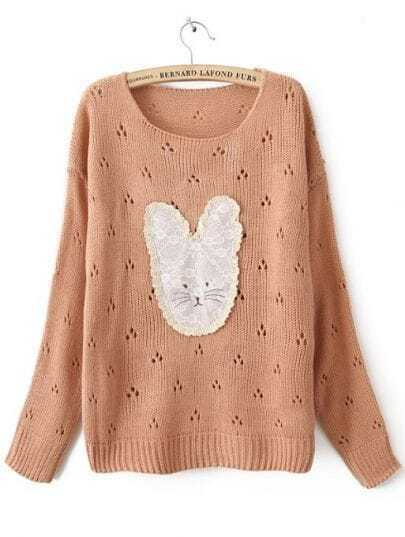 Pink Long Sleeve Lace Rabbit Pullovers Sweater