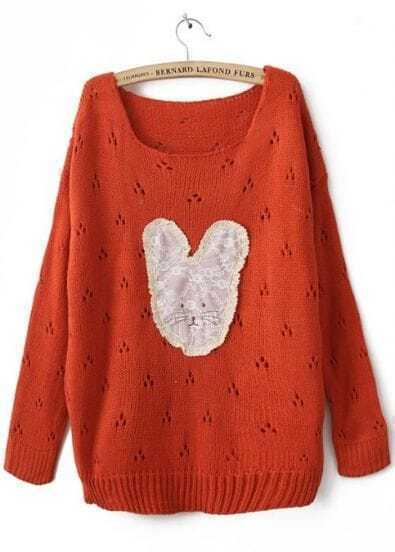 Orange Long Sleeve Lace Rabbit Pullovers Sweater