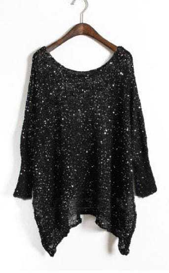 Black Batwing Long Sleeve Sequined Loose Sweater