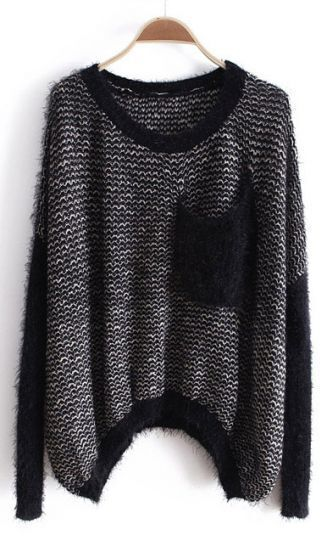 Black Long Sleeve Asymmetrical Pocket Mohair Sweater
