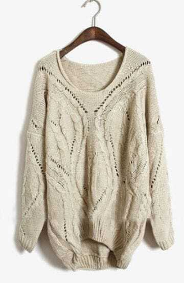Apricot Round Neck Long Sleeve Hollow Sweater