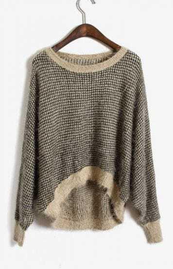 Grey Khaki Batwing Long Sleeve Contrast Trims Plush Sweater