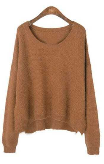 Brown Batwing Long Sleeve Plush Pullovers Sweater