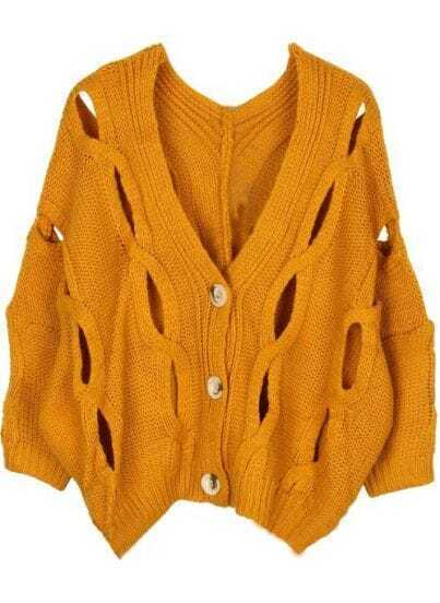 Yellow Batwing Long Sleeve Hollow Cardigan Sweater