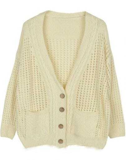 White Long Sleeve Hollow Pockets Cardigan Sweater