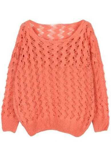 Pink Long Sleeve Hollow Loose Pullovers Sweater