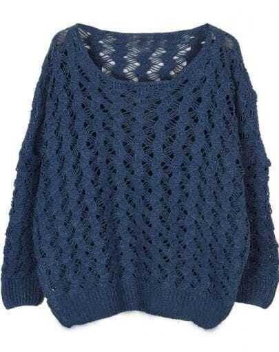 Blue Long Sleeve Hollow Loose Pullovers Sweater