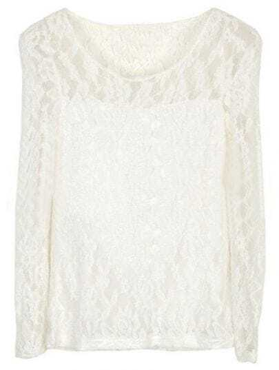 White Round Neck Long Sleeve Embroidery Lace T-Shirt