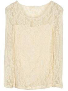 Beige Round Neck Long Sleeve Embroidery Lace T-Shirt