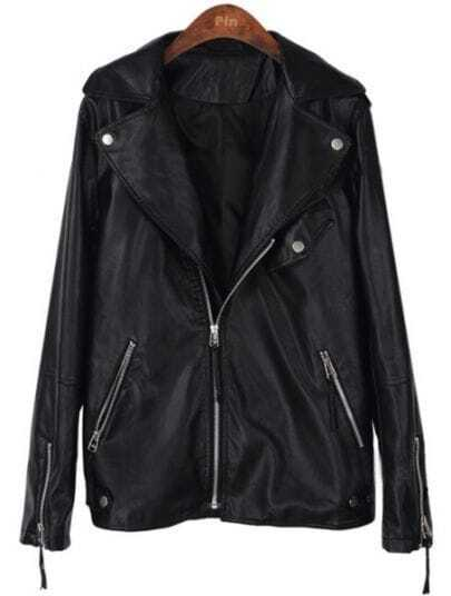 Black Long Sleeve Zipper Pockets PU Leather Coat