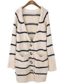 Beige Black Striped Long Sleeve Pockets Coat