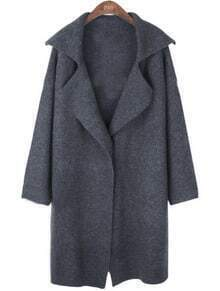 Dark Grey Lapel Long Sleeve Covered Button Coat