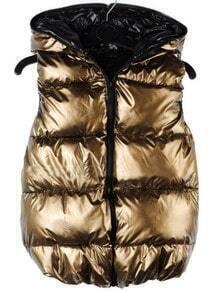 Gold Hooded Sleeveless Zipper Vest Coat
