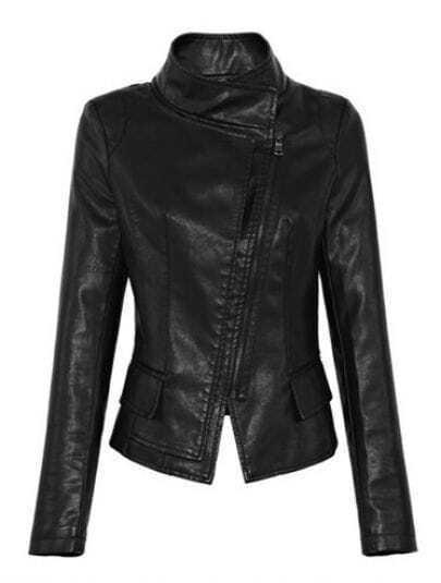 Black Long Sleeve Pockets Embellished Zipper Coat