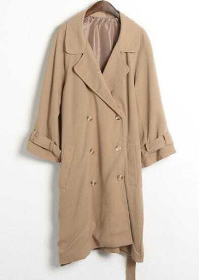 Camel Long Sleeve Drawstring Waist Trench Coat