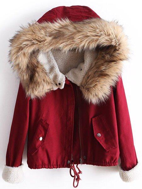 Red Fur Hooded Long Sleeve Drawstring Coat