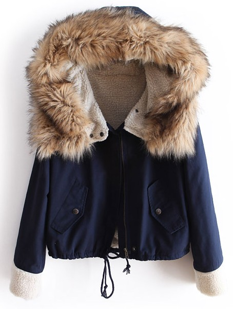 Navy Fur Hooded Long Sleeve Drawstring Coat -SheIn(Sheinside)