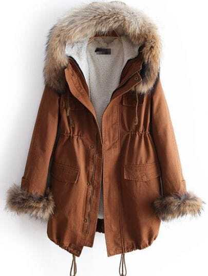 Brown Fur Hooded Long Sleeve Drawstring Pockets Coat
