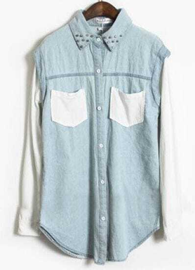 Blue Contrast White Long Sleeve Rivet Denim Blouse