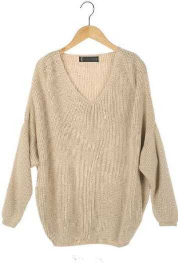 Camel Batwing Long Sleeve V-neck Knitted Pullovers Sweater