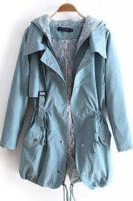 Sky Blue Hooded Zipper Pockets Trench Coat
