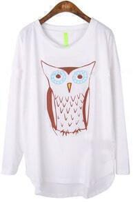 White Long Sleeve Owl Print Cartoon Loose T-Shirt