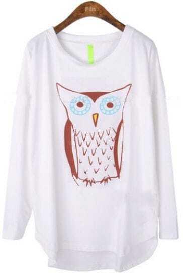 White Long Sleeve Owl Print Cartoon Loose T-Shirt