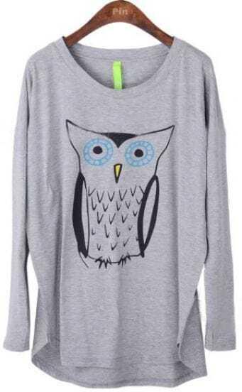 Grey Long Sleeve Owl Print Cartoon Loose T-Shirt