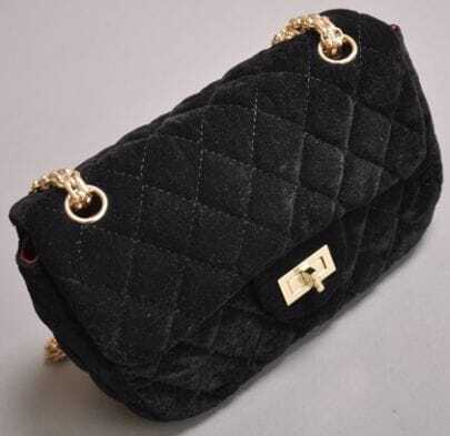 Black Suede Argyle Chain Shoulder Bag