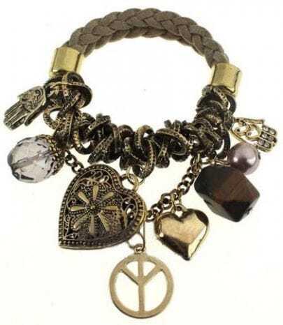 Gold Heart Shaped Embellished Link Bracelet