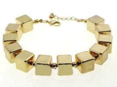 Gold Cube Link Bracelet
