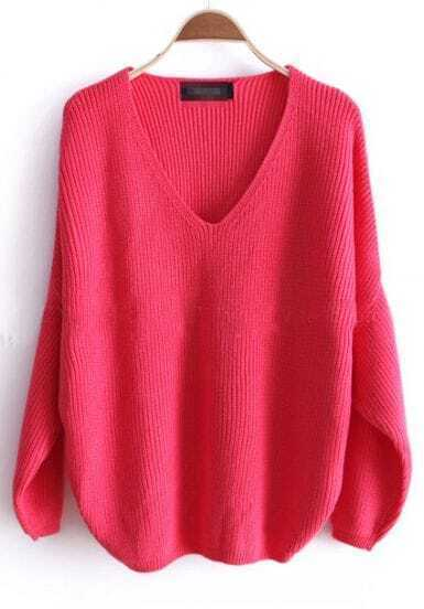 Pink Batwing Long Sleeve V-neck Knitted Sweater