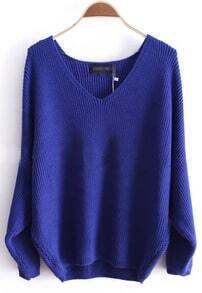 Blue Batwing Long Sleeve V-neck Knitted Sweater