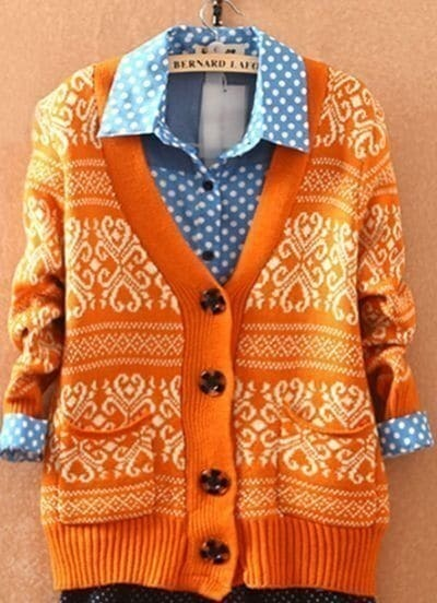 Orange Long Sleeve Tribal Print Cardigan Sweater