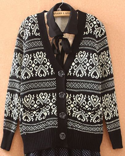 Black Long Sleeve Tribal Print Cardigan Sweater