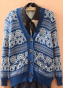 Blue Long Sleeve Tribal Print Cardigan Sweater
