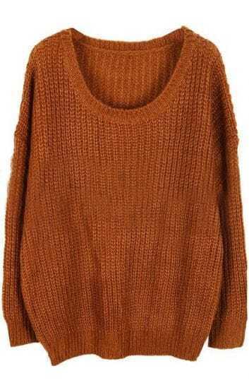 Dark Khaki Round Neck Long Sleeve Loose Sweater