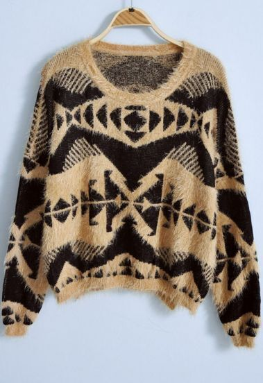 Yellow Long Sleeve Geometric Print Loose Sweater