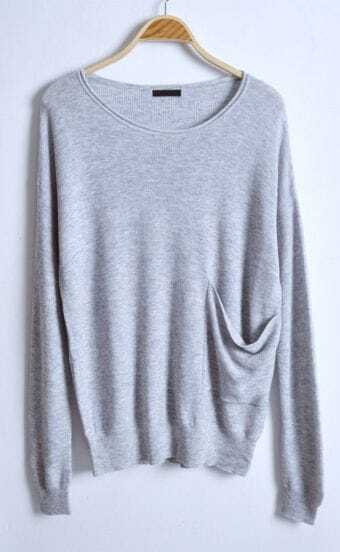 Light Grey Batwing Long Sleeve Big Pockets Sweater