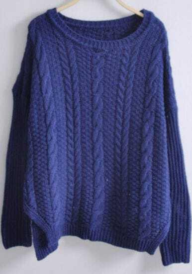 Navy Batwing Long Sleeve Side Split Loose Sweater