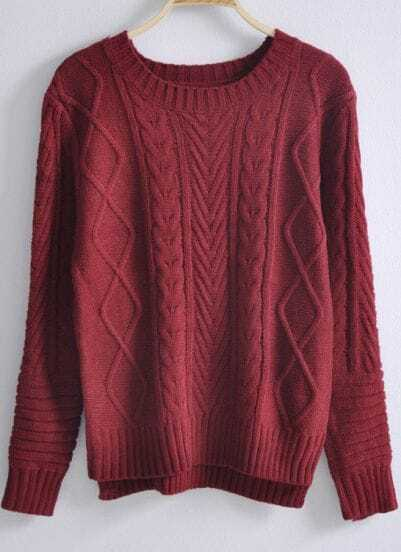Red Long Sleeve Asymmetrical Pullovers Sweater
