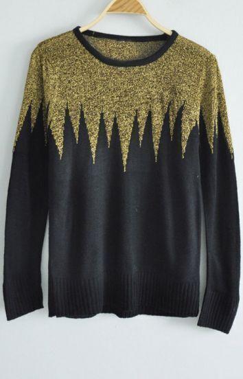 Black Long Sleeve Contrast Gold Sharp Angle Sweater