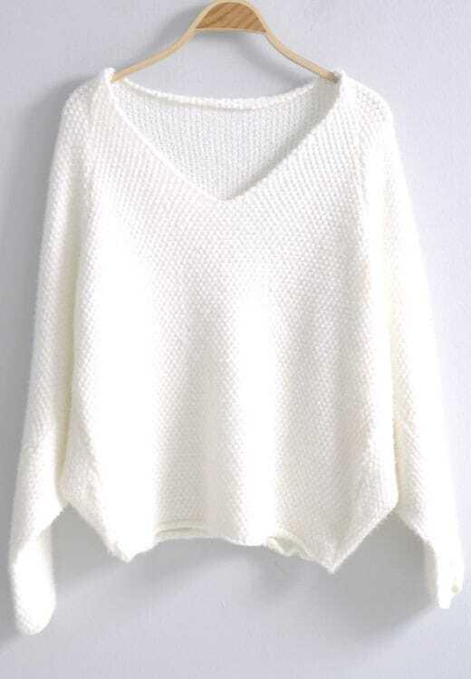 White V Neck Batwing Long Sleeve Loose Sweater -SheIn(Sheinside)