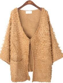 Coffee Long Sleeve Pockets Cardigan Sweater