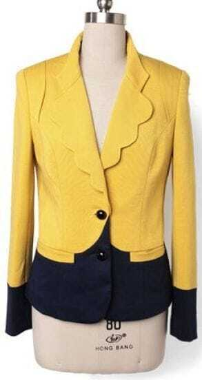 Yellow Navy Ruffles Lapel Long Sleeve Pockets Suit