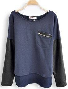 Navy Round Neck Long Sleeve Zipper Pocket Sweatshirt